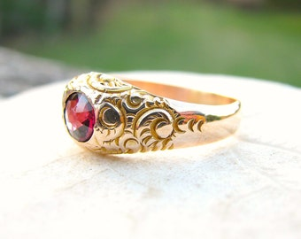 Antique Gold Garnet Ring, Lovely Detail Work and Old Cut Stone, Solid 14K Gold, Substantial, Victorian Period 1800's Solitaire Ring