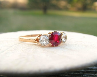 Antique Ruby Diamond Ring, Fine Old European Cut Diamonds & Richly Colored Old Cut Ruby, approx 1.04 ctw, 14K Gold, Late Victorian