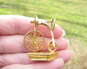 Vintage Bicycle Watch Fob Seal, 18K Gold, Moveable Old Fashioned Antique High Wheel Bicycle, No Monogram, Fun Details, French Hallmarks
