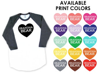 Grandma Bear with Heart Baseball TShirt - Gift for Mom, New Baby, Announcement, Matching, Expecting, Family Photos, Mother's Day