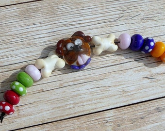 Handmade Lampwork Glass Bead Set Dog bead Puppy bead Bone bead Animal bead Furry friends Artisan bead Generationslampwork, SRA