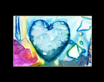 "Original Heart Watercolor Painting in mat, purple,blue,aqua,""Eternal Heart 10"" by Kathy Morton Stanion EBSQ"