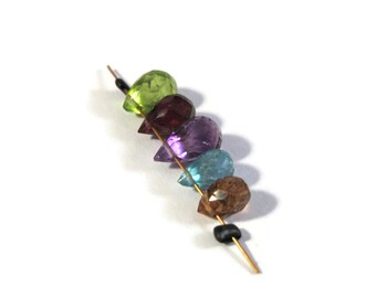 Gemstone Briolette Mix, Five Beads, Apatite, Amethyst, Peridot, Rhodolite Garnet & Tourmaline Beads for Making Jewelry (B-Mix16d)