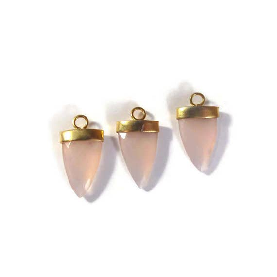 Rose Quartz Charm, Pink Faceted Gemstone Charm, Gemstone Point, Gold Plated Bezel, 24mm x 13mm (C-Rq2c)