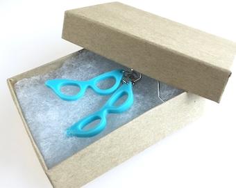 Laser Cut Cat Eye Glasses Earrings