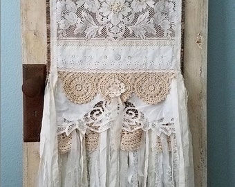Love is the Thread - Vintage Burlap and Lace Shabby Chic Hand Stitched Wedding Tablecloth Runner