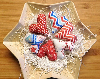 Patriotic Americana Hearts Red White and Blue Ornaments Primitive Bowl Fillers Independence Day Decorations
