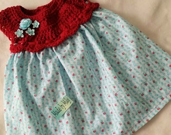 Hand made Baby girl dress and coordinated headband to fit 0-4 months