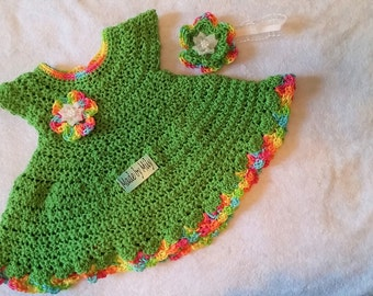Hand crocheted gorgeous dress and headband for baby 0-3 months made in cotton thread