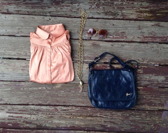 Vintage Grab Bag! Chain Tassel Necklace, Navy Blue Purse, Copper Blouse, Oversized Shades / Classic 1980s OOTD