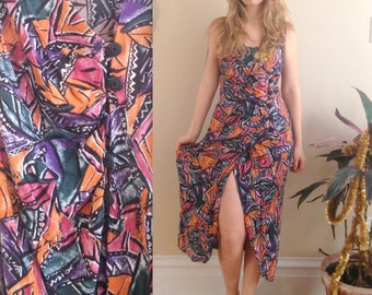 1990's Tropical Beach Coverup Dress by Marnie West . Size Medium . 90s Abstract . Bathing suit dress . muumuu vacation summer breezy