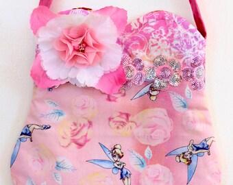 Tinkerbell, floral purse, toddler purse, girls purse, pom pom purse