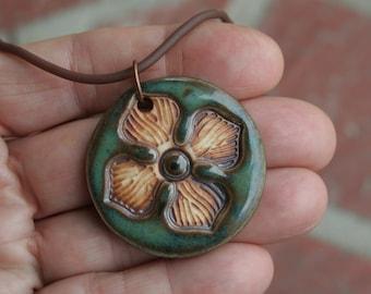 Single Flower on Blue-Green Porcelain Pendant