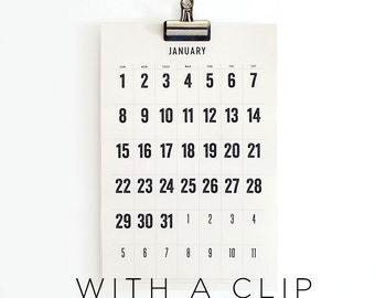 2017 Wall Calendar with 3 inch Clip, 11x17, Large Dates, Full Moon Stickers, Simple, Minimal, limited edition