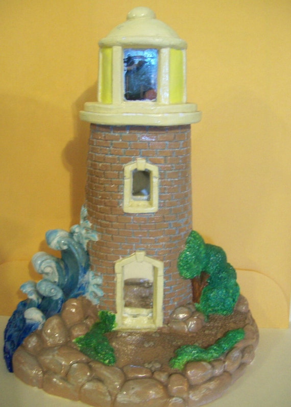 Lighthouse, Brick Lighthouse, Brown Lighthouse, Home gift, Home Decor, Handpainted, gift, holiday gift, housewarming gift