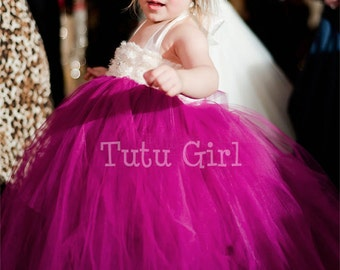 Fuchsia Flower Girl Dress, Fuchsia Ivory Tutu Dress