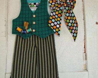 Boys Mad Hatter Costume Vest Tie & Pants  Greens Turqouise Halloween Costume