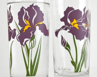 Purple Iris Drinking Glasses - Set of 2 Everyday Water Glasses, Mother's Day Gift, Gift for her, Purple Irises, Iris glasses, Iris glassware