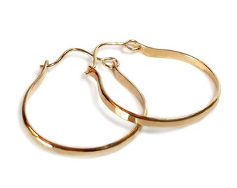 Half Hoop Earrings - Gold Fill - Minimalist Earrings - Urban - Hammered - Gifts For Her - Gold Filled Half Hoops - Sparkly -Made In Brooklyn