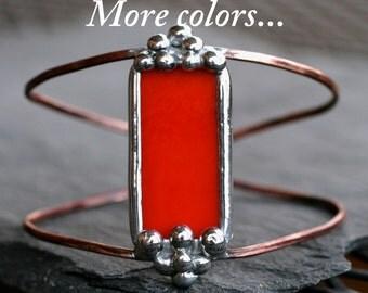 copper cuff bracelet bright orange stained glass rustic copper boho cuff wire cuff modern cuff bohemian cuff bracelet STUDDED CUFF