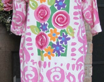 Ladies pink and white flower pint cotton tunic top