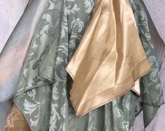 Sage green and gold bustle skirt - steampunk utility bustle - Victorian bustle belt - recycled fabric bustle - desert festival tutu bustle