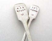 Big Spoon Li'l Spoon, Non Matching Pair of Lovers' Spoons, Handstamped Dessertspoon and Teaspoon, Sweetheart Gift, Big Spoon Little Spoon