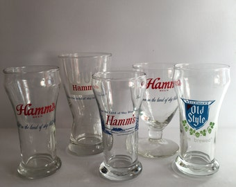 Hamm's Beer Tasting Glass Collectible 1960's Libby Glass Pilsner 8 Ounce