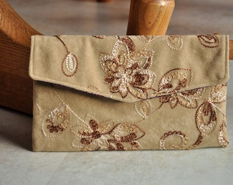 Embroidered clutch purse, gorgeous faux suede handbag, tan, brown, and purple foldover evening bag, small purse,  pouch clutch with snap