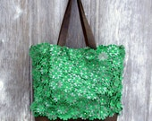 RESERVED for Erin Leather Tote Bag with Green Flowers by Stacy Leigh