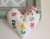 fabric scrap modern patchwork heart lavender sachet ornament,  heart valentine lavender fabric scrap pillow hanging pillow sachet, No.38