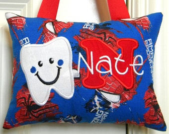 Tooth Fairy Pillow Boys Personalized Spiderman