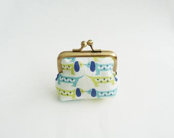 Coin purse, dachshund fabric, blue and green sausage dog fabric, cotton purse