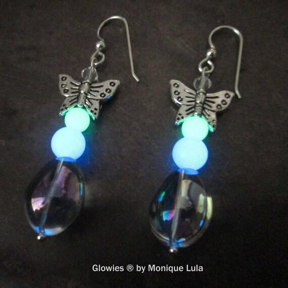 Handmade Butterfly Blue & Green Glow Glass Earrings with Sterling Silver Hooks Fairy Boho Mermaid Magical Glowing Dangles