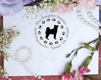 Akita Dog Stamp, Akita Lover Self Inking Custom Return Address Stamp, Cute Stamp for Akita Lover, Dog Stamp --10341-PI53-000