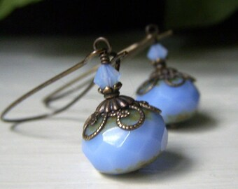 Powder Blue Glass Earrings, Vintage Style Brass Dangle, Large Rondelle Earrings, Periwinkle Blue Czech Glass Earrings