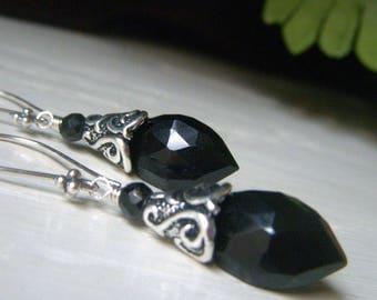 Black Spinel Earrings Sterling Silver Earrings, Everyday Black Earrings, Briolette Gemstone Earrings, Black Dangle Earrings Marquis Gemstone