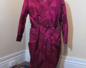 Maroon Smoking Jacket vintage 50s Smoking jacket burgundyJacquard satin robe vintage smoking jacket wrap robe 1950s robe M L