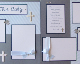 Scrapbook Premade 12x12 Pages -- BLESS THIS BABY -- BoY BaPTiSM DeDiCaTioN cHriSTeNiNG