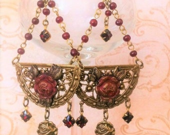 Romantic Vintage Red Rose Earrings Long Chandelier Garnet Red Earrings Medieval Jewelry Victorian Costume Design  By Red Gypsy Jewelry