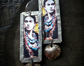 Tin Earrings, Frida Kahlo, Artisan Made, Rustic, Organic, Primitive, Vintage, Flowers, Upcycled, Recycled, Beaded Earrings