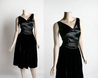 Vintage 1950s Satin and Velvet Skirt & Blouse - Black Velvet Skirt - Satin Blouse with Sash Belt - Evening Formal Cocktail - Small Medium