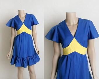 Vintage 1970s Dolly Dress - Royal Blue and Lemon Yellow Cotton Blend Dress - Ruffle Hem - Empire Waist - Flutter Sleeve - Small Medium