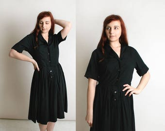Vintage 1960s Dress - Black Cotton Shirtwaist Fit and Flare Dress - Button Up Shirtdress with Great Hip Pleats - Full Skirt - Medium Large