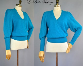 Fuzzy Turquoise Sweater ~ Vintage Wrap Puff Sleeve Top ~ Angora Silk Lambswool