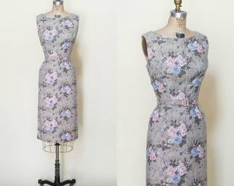 1950s Floral Dress --- Vintage Cotton Sheath