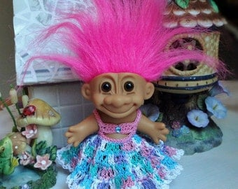 Crochet clothes outfit for 4 1/4 inch Russ Troll doll Dress Bra Top Ruffled Skirt Blue Aqua Turq Pink White