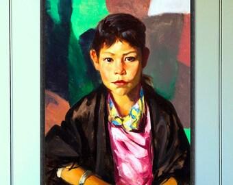Native American girl vintage painting vintage art native american art reproduction art print home decor giclee vintage portrait