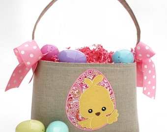 Easter Basket chick Applique pink yellow