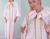 RUDI GERNREICH Vintage 60s Mod Pink White Polka Dot Print Maxi Harlequin DRESS S/M/L